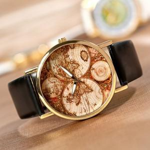 Vintage Style Continent Map Watch